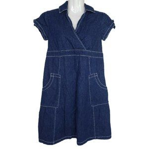 Motherhood Maternity Dress Small Blue Denim Surplice Top Pockets Missing Belt
